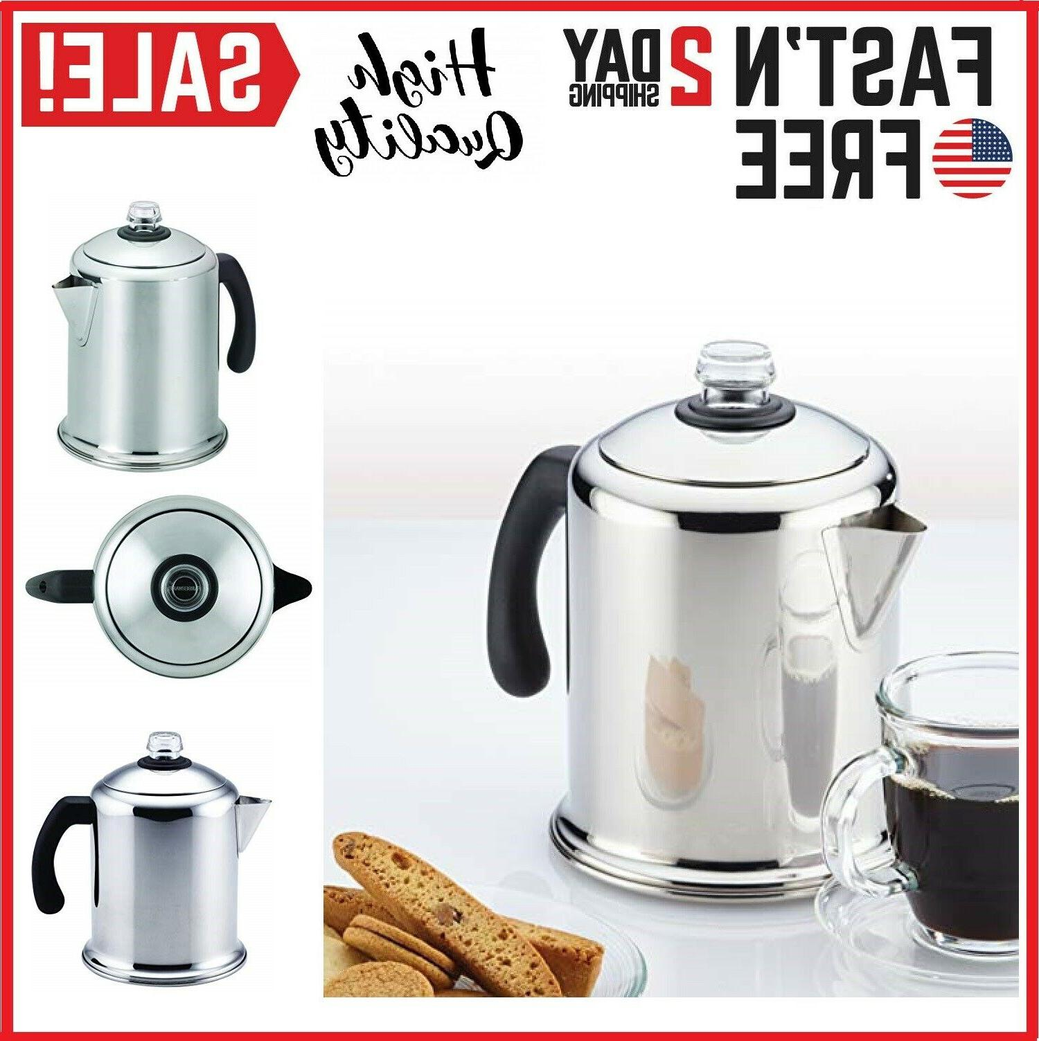 8 cup stainless steel percolator coffee stovetop