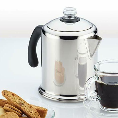 8-Cup Steel Coffee Stovetop Dishwasher Safe