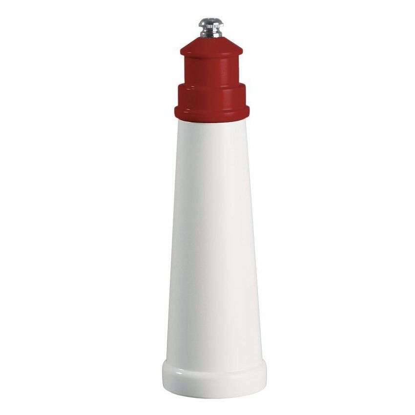 Fletchers' Mill Lighthouse Pepper Mill, White/Red - 9 Inch