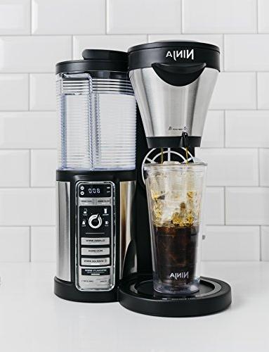 Ninja Coffee Hot/Iced Coffee Brew Sizes, Auto-iQ, Milk Frother, 43oz Stainless Carafe, Tumbler and Recipes