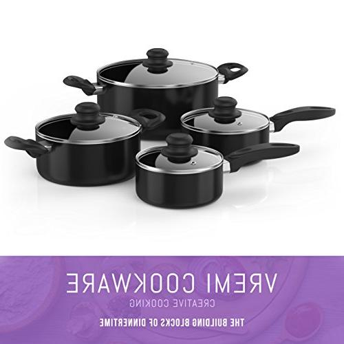 Vremi 15 Cookware Set; 2 and Dutch with Glass Lids, 2 Fry Pans and Nonstick Utensils; Oven Safe