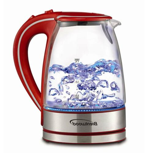 Brentwood Appliances KT-1900R Tempered Glass Tea Kettles, 1.
