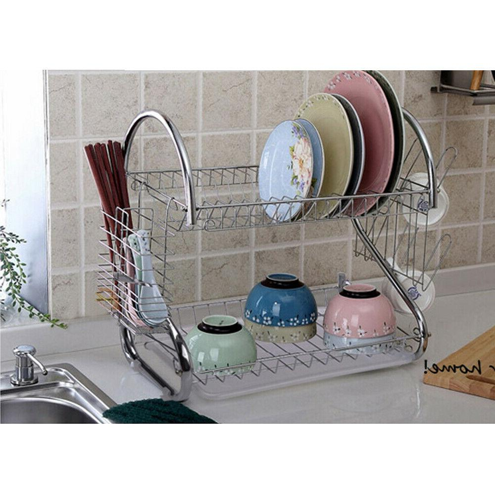Kitchen Cup Drying Rack Tray Cutlery Holder
