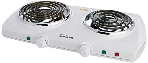 electric double burner spiral white
