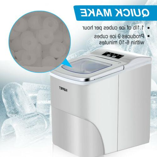 Electric Portable Ice 26lbs/Day Cube Machine Countertop Silver