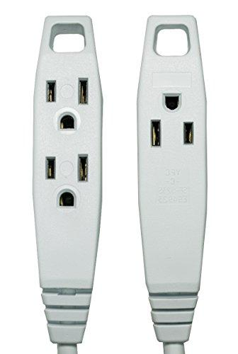 Barium Extension White 15 3 Outlets | 16 AWG | Watt | 120 Volt Appliances, Tools 3 prong, w/ ground,