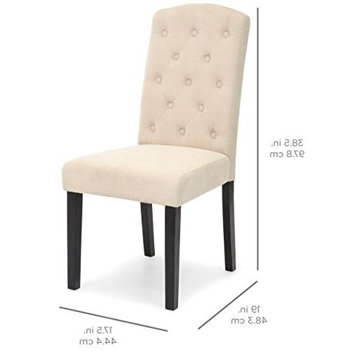 Best of 2 Fabric Tufted Parsons Dining
