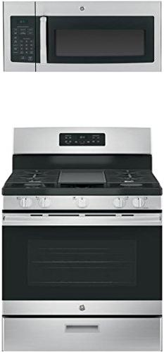 """GE 2-Piece Kitchen Package with JGBS66REKSS 30"""" Freestanding"""