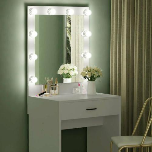 White Vanity Table Set with Drawer Mirror&10 LED Lights for