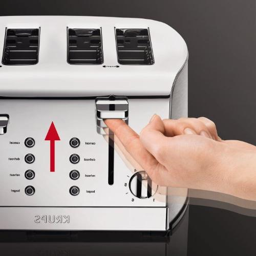 KRUPS 4-Slice Toaster and Chrome Stainless Housing, Silver