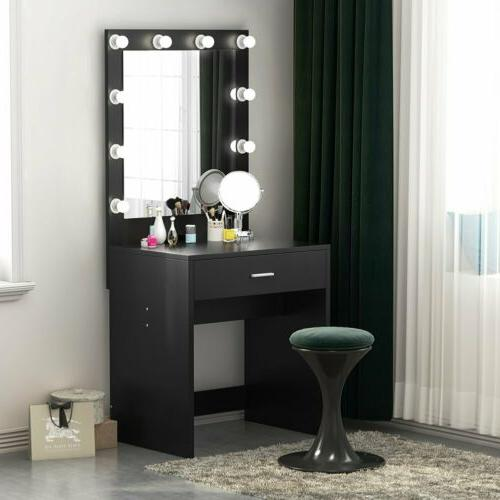 Modern 10 Led Lighted Vanity Table Set with Drawer and Mirro