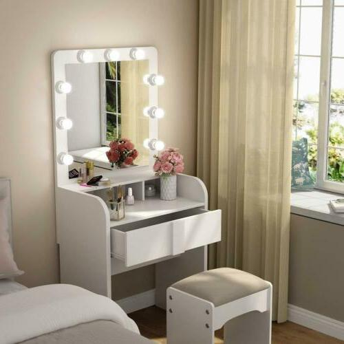 Tribesigns Vanity Table Set 9 Led Light with large Mirror an