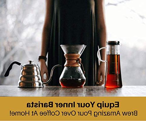 Pour Coffee with Thermometer for Exact Temperature Over Kettle for Drip Coffee