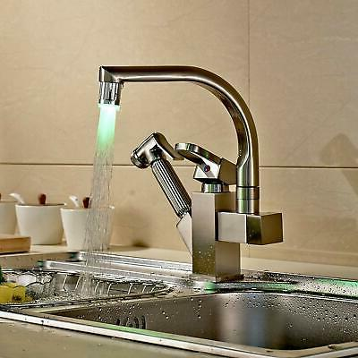 Brushed Nickel LED Swivel Spout Kitchen Sink Faucet Pull Out