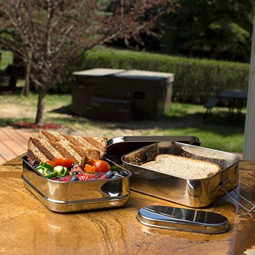 Stainless Steel 3-in-1 Bento Lunch Box + LIFE-TIME WARRANTY   6 Cups of + Insert   Durable Stainless Steel Healthy both +