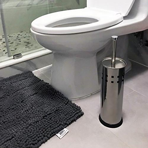 Stainless Steel Brush Holder with Canister, Matte Finished, for Bathroom Accessory