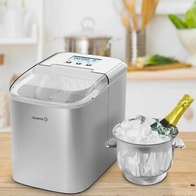Stainless Ice Countertop 26LBS/24H W/Scoop Portable