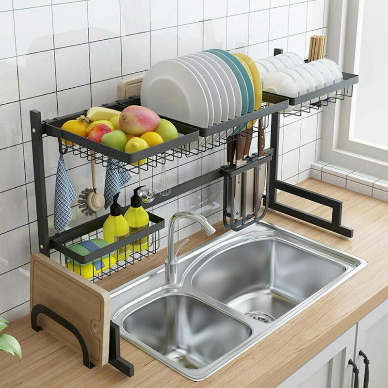 kitchen dish cup drying rack holder sink