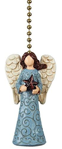Clementine Designs Tranquil Blue Angel with Star Ceiling Fan