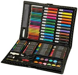 WOOD Drawing Set 142 Piece Pencil Pastel Color Draw Kit Supp