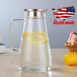 Stunning Clear Glass Pitcher Stainless Steel Lid Ergonomics