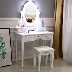 Mirror 5 Drawers Dresser Dressing Table White with light bul
