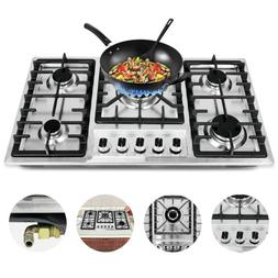 "New 33.8"" Stainless Steel Cooktop Built-in Stove Natural Gas"