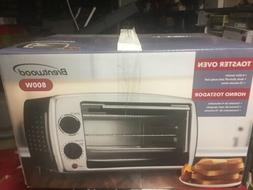 New Brentwood TS-345B Toaster Oven Black Retro Style Window