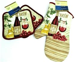 Oven Mitt and Pot Holders, 3 piece set, Red Wine