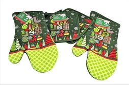 Oven Mitts and Pot Holders, 4 piece set, green, New ~ Christ