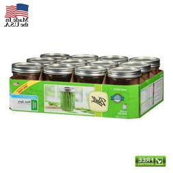 12 Pack 16 oz Pint Jars with Lids and Bands Ball Mason Wide