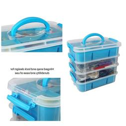 Plastic Storage Bin Organzer Art Crafts Supplies Sewing Box