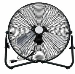 Portable High Velocity 3-Speed Floor Fan 20-in Black Adjusta