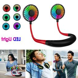 Portable Rechargeable Neckband Neck Hanging Fan Hand Free Pe