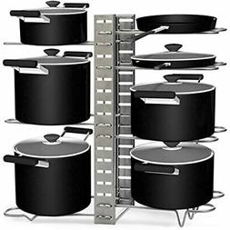 Pots And Pans Organizer Rack, 8 Tier Adjustable Lid Holder W