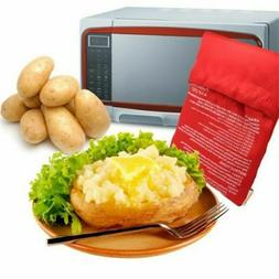Red Microwave Potato Bag For Oven Quick Fast Steam Pocket In