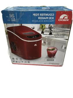 red portable electric ice maker compact countertop