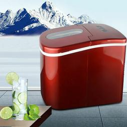 Red Portable Ice Makers Bullet Shape Cube Countertop Ice Col