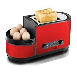 COSVII Red Toaster 2 Slice with Egg Maker, Extra Wide Slots,