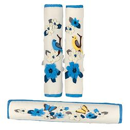 Refrigerator & Appliance Handle Covers in Blue Bird Flower G