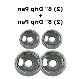 "4 Pack  6"" &  8"" Replacement Chrome Pans for Whirlpool W1027"