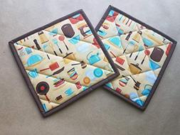 Retro Inspired Kitchen Themed Potholders Set of 2, Quilted T