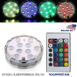 RGB Submersible LED Lights Waterproof Color Changing w/ Remo