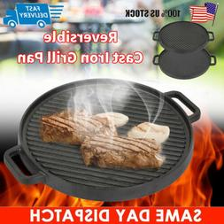 Round Reversible Cast Iron Griddle Grill Plate Pan Steak BBQ