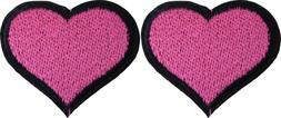 Set of 2 Patches - Heart Pink Love Romance Cute Girly Valent