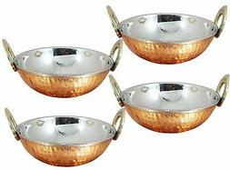 Set of 4, Stainless Steel Hammered Copper Serveware Accessor