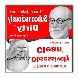 """Sigmund Freud """"These dishes are Subconsciously DIRTY"""" 2.5"""" x"""