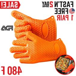 Silicone Oven Mitts Gloves Pot Holders Cooking Kitchen BBQ G
