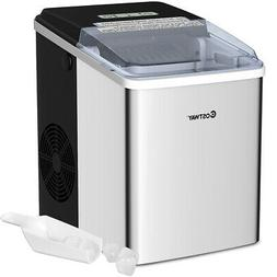 Stainless Steel Ice Maker Countertop 26Lbs/24H Self-Clean Fu