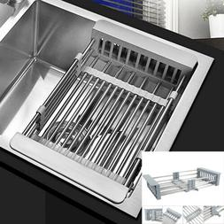 Stainless Steel Kitchen Dish Drying Rack Telescopic Filter B